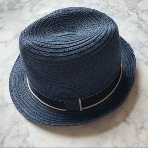 Blue fedora H&M summer straw hat youth 4-7